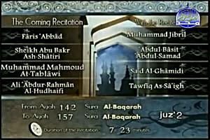 Sheikh Muhammad Jibril recites from Surat Al-Baqarah verse no. 142 to verse no 157.
