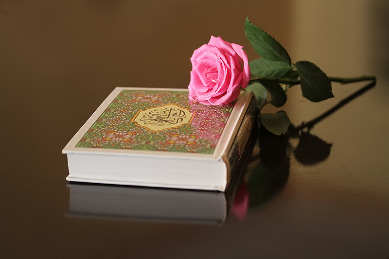 A flower and a hard copy of the Qur'an.